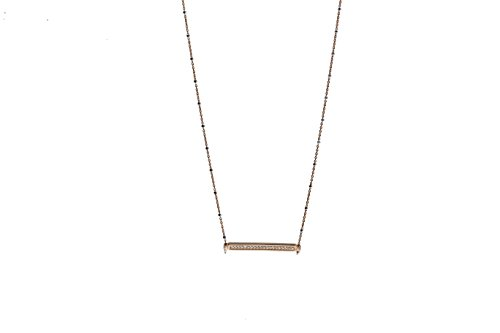Babette Wasserman épingle en argent sterling or rose ID Bar Collier de 41 cm rose gold