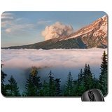 smoke rising from a cloud covered volcano Mouse Pad, Mousepad (Mountains Mouse Pad)