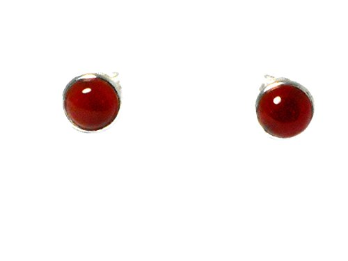 Corniola - orecchini a perno rotondi in argento Sterling 925 (CST2810151)