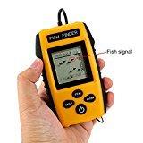Zantec Portable Fish Finder, Wassertiefe und Temperatur Fischfinder mit verkabeltem Sonar-Sensor-Transducer und LCD-Dispaly
