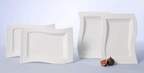 Villeroy & Boch NewWave Gourmet-Teller 4-teilig, Trendgeschirr aus hochwertigem Premium Porzellan in...