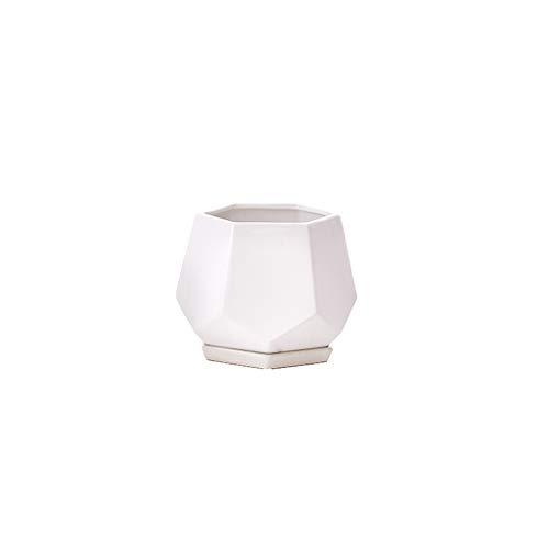 Qp-hp Keramischer Blumentopf einfacher Diamant kreativer dreidimensionaler geometrischer saftiger Blumentopf + Keramiktablett (Farbe : Weiß, größe : Caliber:9.5cm) (Hewlett Diamant)