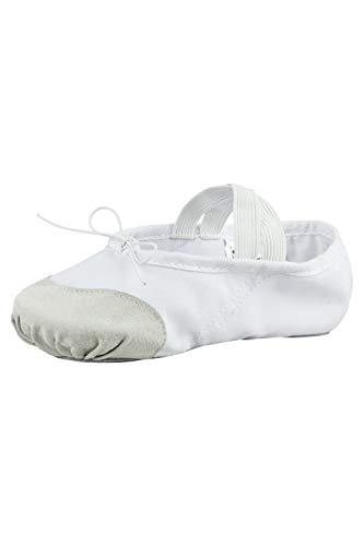 tanzmuster Ballettschuhe Robin aus Leinen mit Lederverstärkung, geteilte Sohle, für Kinder und Erwachsene, weiß, Größe:24