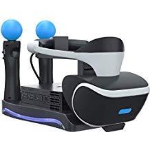 Skywin PSVR Ständer - Laden und Präsentieren von PS4 VR Headset und Prozessor - kompatibel mit Playstation 4 PSVR - Showcase und Move Controller Ladestation