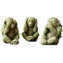 Juego de 3 Piedra reconstituida Mono decoraciones de jardín.
