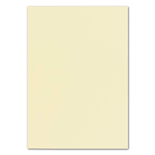 50x DIN A4 Papier Planobogen -Vanille/Creme - 160 g/m² - 21 x 29,7 cm - Bastelbogen Ton-Papier Fotopapier Bastel-Papier Brief-Papier - FarbenFroh®