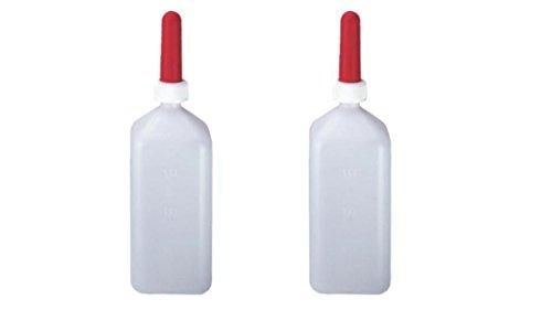 2 er Set 2 Liter eckig Aufzuchtflaschen für Kälbchen