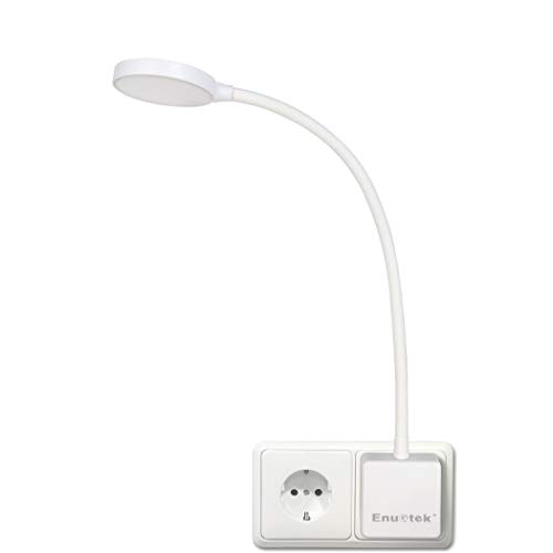 Lampara de Lectura Pared de LED Flexible Regulable Blanco con Enchufe y Interruptor Tactil 4W 350Lm Iluminación Blanca Natural 5000K Sin Función de Control Remoto de Enuotek