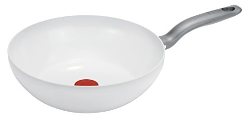 Tefal C90819 CeramicControl Induction Wokpfanne 28 cm, weiß Ceramic White