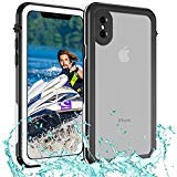 iPhone X Wasserdichte Schutzhülle IP68 Zertifiziert, schmutzfest stoßfest Bezug für Outdoor, Fully-Sealed iPhone X Fall Wasserdicht mit Klar Calling Sound, Wasserdicht iphonex Haut (Schwarz-Weiss) -