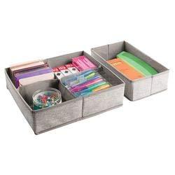 mDesign Juego de 2 Organizador de cajones con 5 divisiones - Cajones organizadores para útiles de oficina - Organizador de tela para lápices, marcadores, anotadores, grapas y más - beige