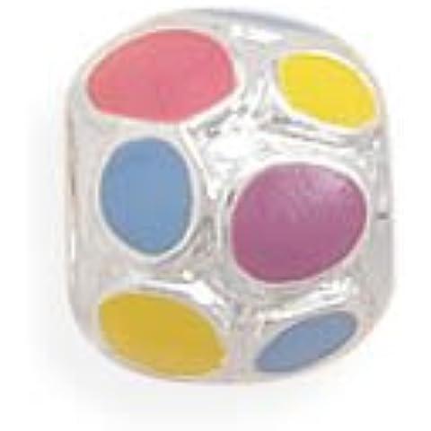 Sterling Argento Smalto Multicolore Dot Design (Smalto Dot)