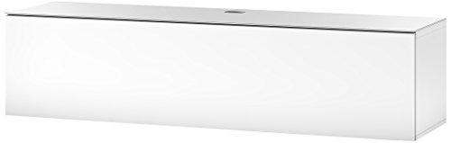 Sonorous STA 160F-WHT-WHT-WL hängende TV-Lowboard mit weißer Korpus, obere Fläche, gehärtetem Weißglas und Klapptür, ohne Sockel