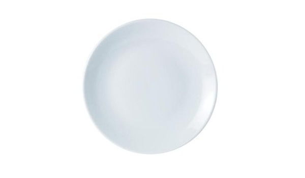 187628 Set Of 6 White Porcelite Coupe Shaped 11 Inch Plates