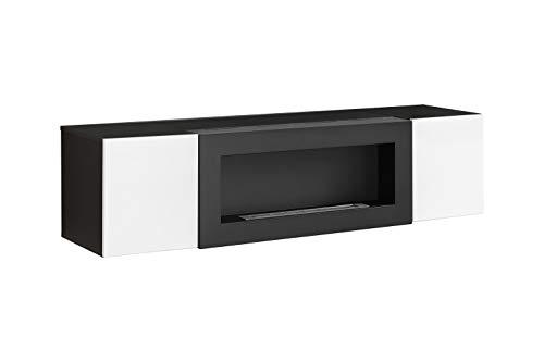 muebles bonitos Armario Colgante con Chimenea bioetanol Erica lumbre (160x40cm) en Negro y Blanco