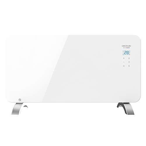 Cecotec Convector de Cristal de 1500 W. Potente. WiFi. Termostato Regulable. Temporizador. con Soporte de pie. Protección sobrecalentamiento. Silencioso. Ready Warm 6700 Crystal Connection