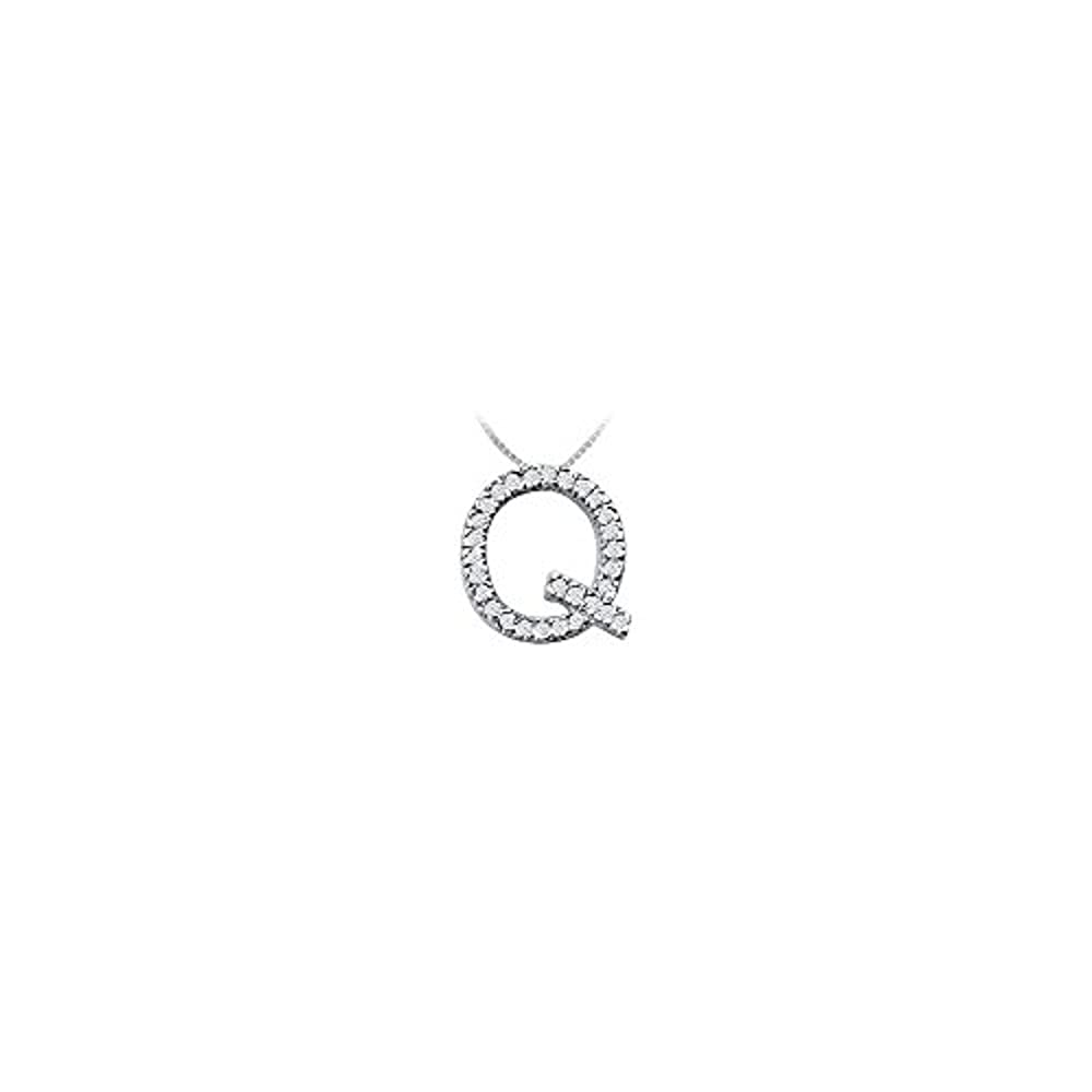 Classic Q Initial Cubic Zirconia Pendant Sterling Silver 0.50 CT CZs
