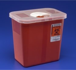 Kendall Sharps Container with Rotor Lid - 2 Gallon by KENDALL HEALTHCARE.