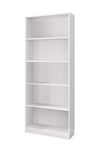 Habitdesign 005626BO - Estantería Oficina Alta, estantería despacho Color Blanco Brillo, Medidas: 80x201x28 cm de Fondo