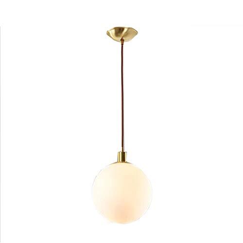 Globe Pendelleuchte, Globe Mount Deckenleuchte, Mattweiß mit Messing-Finish, zeitgenössische Mid Century Modern Style Leuchte (20cm) - Leuchte-messing-finish