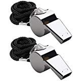 Friencity 2 Pieces Coach Referee Metal Whistles with Lanyard Bulk, Extra Loud Stainless