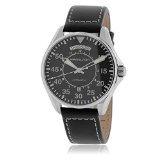 Hamilton H64615735Noir Cadran et bracelet cuir automatique montre homme