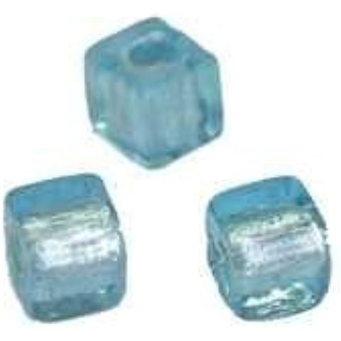 Perle di vetro silver foil, gioielli fai da te, 50 pcs ca. Dadi 7 x 7 mm, 49 light sapphire