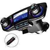 JINSERTA Bluetooth FM Transmitter Car MP3 Player Hands-Free Car Kit Wireless Radio Audio Adapter with Dual USB 5V 2.1A USB Port U Disk TF Card Folder Playback AUX Input Output Voice Navigation Audio-input-kit