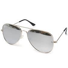 Eyewear World Sonnenbrille, silberfarbene Metallrahmen, reflektierende Gläser, mit gelber Kordel
