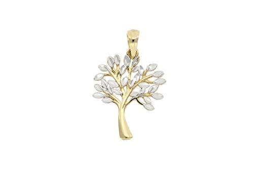 BoB C. Baumanhänger mit Blättern spiegeldiamantiert rhodiniert 375/- Gold, 9 Karat