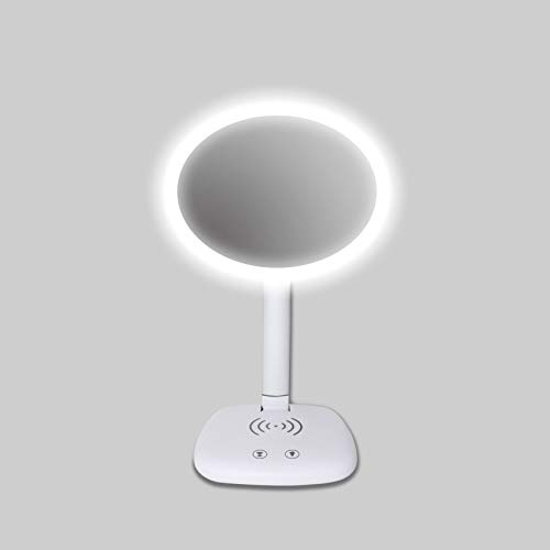 MSTING Make-up-Spiegel mit Lichtern, 2-in-1 beleuchtete Schminkspiegel mit Eye-Caring Schreibtischlampe, Dual-Netzteil Faltbarer Kosmetikspiegel für Reisen, Rasieren, Tabletop, Geschenke für Frauen - Licht-stab Eye