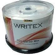 WRITEX 50pcs CD-R-CD RECORDABLE SPINDLE BOX 16X 720 MB 80 MINUTES
