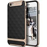 Caseology iPhone 6 Hülle, [Parallax Serie] Schlank Doppelte Schutz Haftung Dank Textur Geometrischem Design [Schwarz/Gold - Black/Gold] für Apple iPhone 6 (2014) & iPhone 6S (2015)