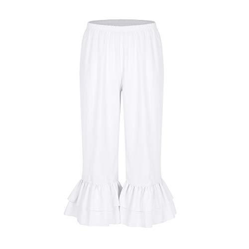 Kostüm Kolonial Frauen - CHICTRY Damen Hose viktorianische Rüschen Lolita Kürbis Weiß Pantalons Pettipants Renaissance Zigeuner Pumphose Cosplay Kostüm Weiß Small