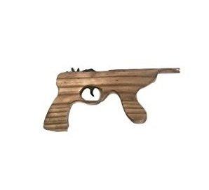 MEIERLE & Söhne Kleine Gummiband Maschinenpistole Pistole Holz Revolver Cowboy Indianer Räuber Gendarme Duellpistole Karneval Fasching Party Spiel (Gummibänder Für Waffen)