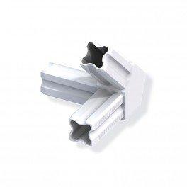 Connecteur angle 45°C droite blanc 3 embouts 23.5mm pour tube alu et pvc
