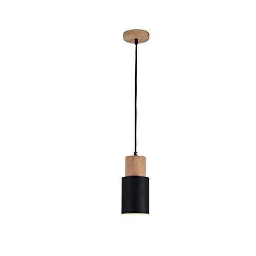 Nordische Art-Leuchter, kreatives Schlafzimmer-Wohnzimmer-Esszimmer-Korridor-hölzerne einzelner Kopf-Leuchter, Art- und Weiseclub-Büro-Nachthemd-Kleidungs-Speicher-Leuchter (Color : Black)