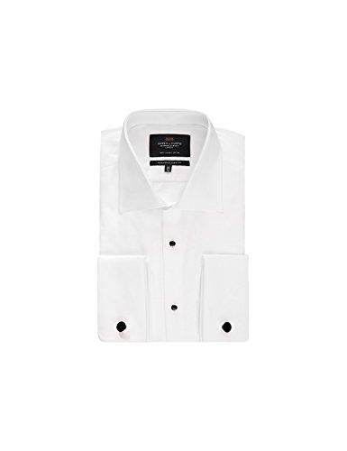 Hawes & Curtis Herren Smokinghemd Classic Fit Waffel-Piqué Einsatz Popeline Weiß Weiß 44cm Kragen, 86cm Ärmel (UK 17.5-34) - Herren-cutaway-kragen-shirt