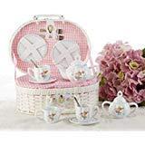 Delton Products Mermaid Porcelain Tea Set in Fabric Lined Basket New Porcelain Creamer