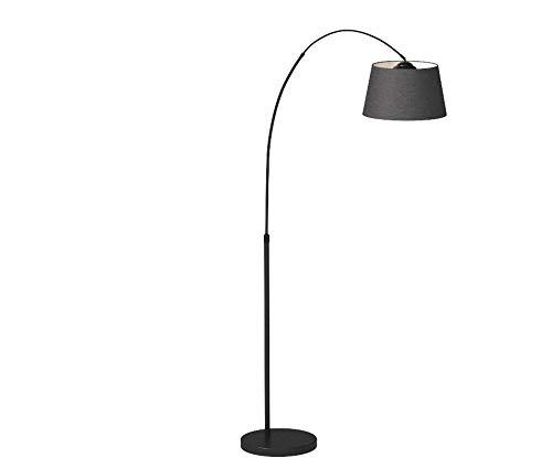 QAZQA Modern Bogenleuchte/Bogenlampe/Lampe/Leuchte Arc schwarz mit schwarzem Stoffschirm/Innenbeleuchtung/Wohnzimmerlampe Textil/Stahl Rund LED geeignet E27 Max. 1 x 20 Watt