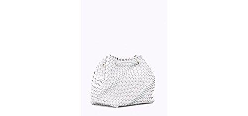 PATRIZIA PEPE woven fabbric bucket bag BIANCO