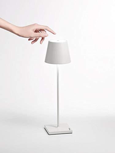 Ai Lati POLDINA Lampada da Tavolo LED 2W 3000K Ricaricabile IP54 Esterno Bianco