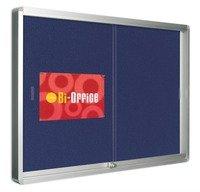 Bi-Office 1000 x 700 mm en feutre avec cadre en Aluminium pour affichage verrouillable carreaux Bleu