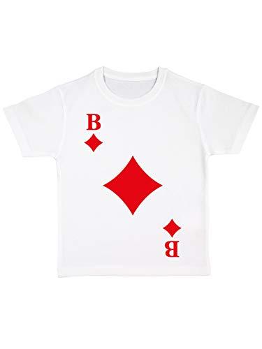clothinx Kinder T-Shirt Bio Karneval & Fasching Spielkarte Karo Bube Kostüm Weiß Größe (Gruppe Karte Kostüm)