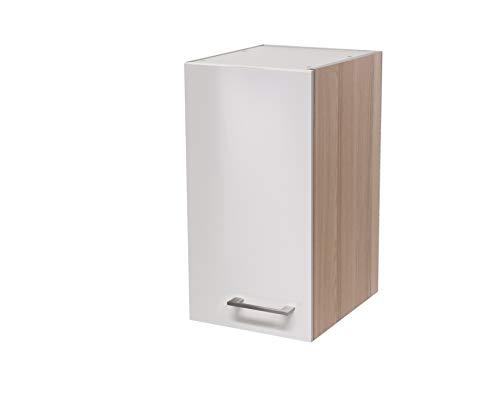 MMR Hängeschrank Küche DERRY, Küchenschrank, 1-türig, 30 cm breit, wechselseitig montierbare Tür, verstellbarer Einlegeboden, Perlmutt Weiß