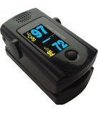 Fingerpulsoximeter MD300C3 mit 6fach-OLED-Anzeige und Pulston, inklusive Aufbewahrungstasche, Silikonschutzhülle, Trageband, Batterien,