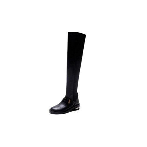 YYH Cuisse sur les bottes de genou tube élastique a été mince femmes en cuir véritable bottes long tube Black