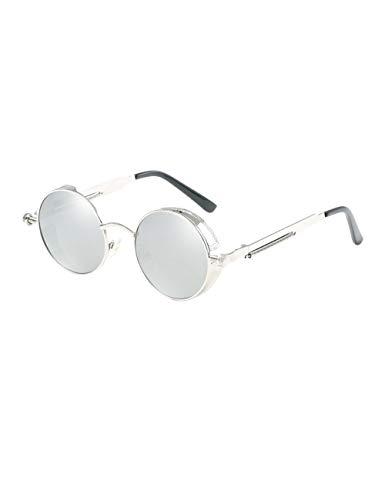 besbomig Klassische Polarisierte Sonnenbrille Unisex Retro Brille - Steampunk Runde Metallrahmen UV400 Schutz Sonnenbrille Damen Herren Goggle