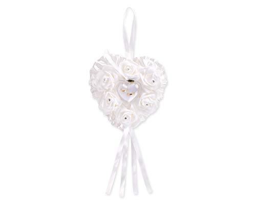 SCSpecial Ehering Kissen Zeremonie herzförmige Ring Bearer Kissen Hochzeiten Ring Box Halter romantische Hochzeit Zubehör - weiß