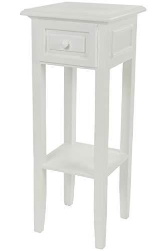 My Flair Meridian Telefontisch/Beistelltisch / Konsole antik weiß, Landhausstil mit Shabby-Chic-Look, 0821DF -